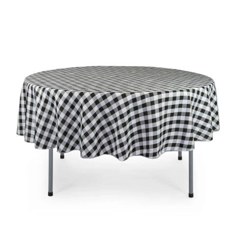 90 Inch Round Polyester Tablecloth Checkered Black