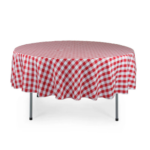 90 Inch Round Polyester Tablecloth Checkered Red
