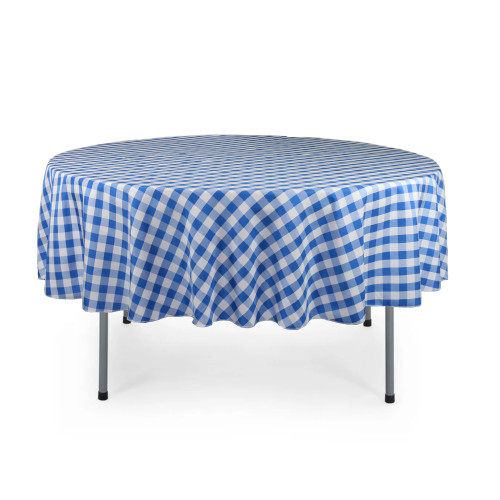 90 Inch Round Polyester Tablecloth Checkered Royal Blue