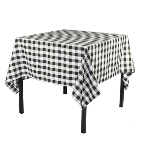 84 x 84 Inch Square Polyester Tablecloth Checkered Black