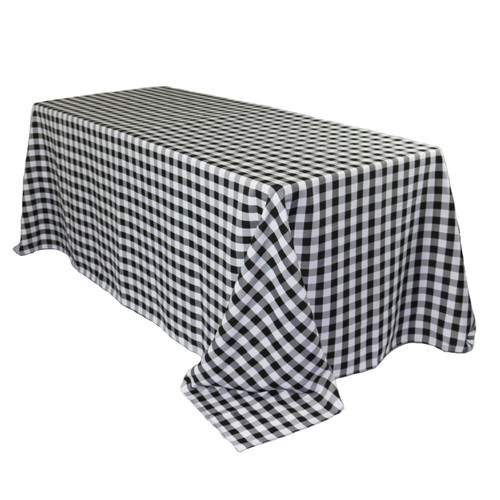 90 x 132 Inch Rectangular Polyester Tablecloth Checkered Black