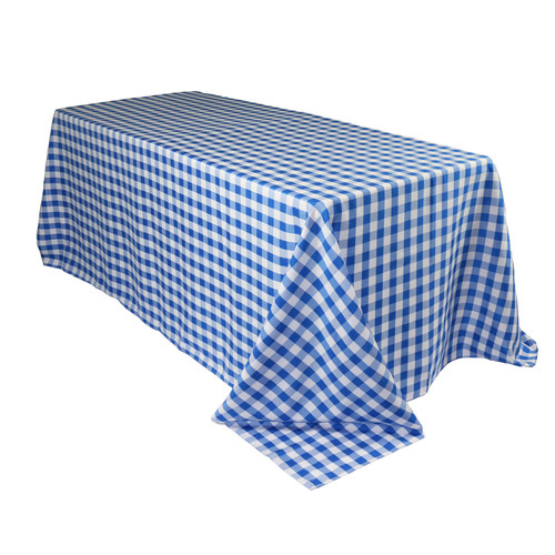 90 x 132 Inch Rectangular Polyester Tablecloth Checkered Royal Blue