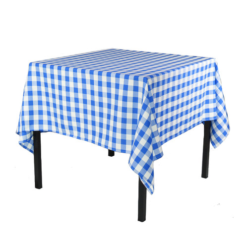 90 x 90 Inch Square Polyester Tablecloth Checkered Royal Blue