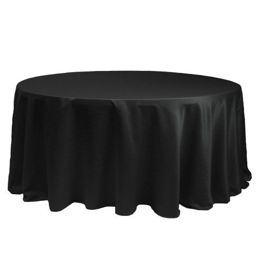 132 Inch Round L'amour Tablecloth Black