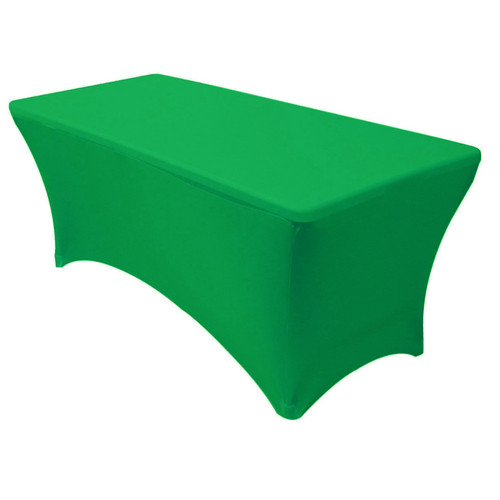 Stretch Spandex 8 ft Rectangular Table Cover Emerald Green