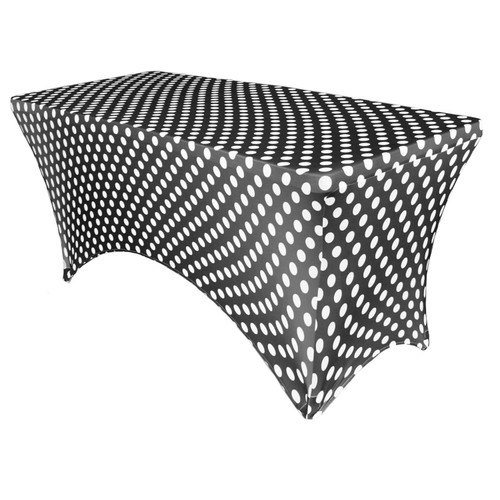 Stretch Spandex 6 Ft Rectangular Table Cover Polka Dot Black/White
