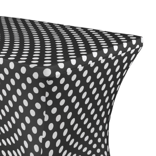 Stretch Spandex 8 Ft Rectangular Table Cover Polka Dot Black/White Zoom