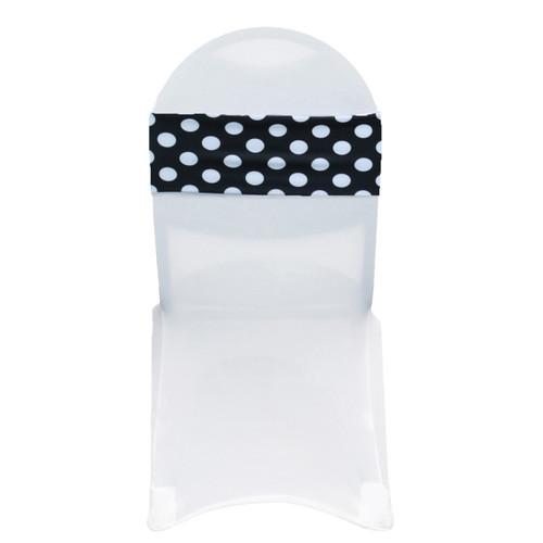 10 Pack Stretch Spandex Chair Bands Polka Dot Black/White