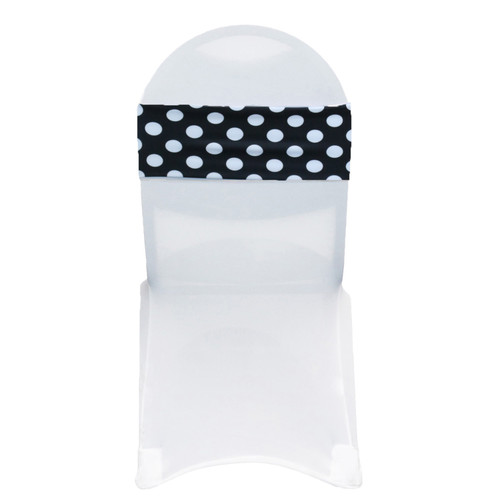 10 Pack Stretch Spandex Chair Bands Polka Dot Black/White