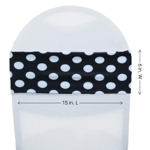 Stretch Spandex Chair Bands Polka Dot Black/White