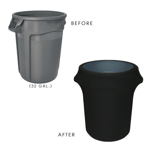 32 Gallon Spandex Trash Can/Waste Container Cover Black before and after