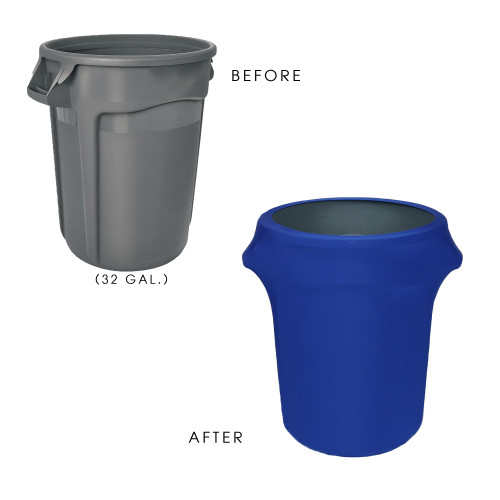 32 Gallon Spandex Trash Can/Waste Container Cover Royal Blue before and after