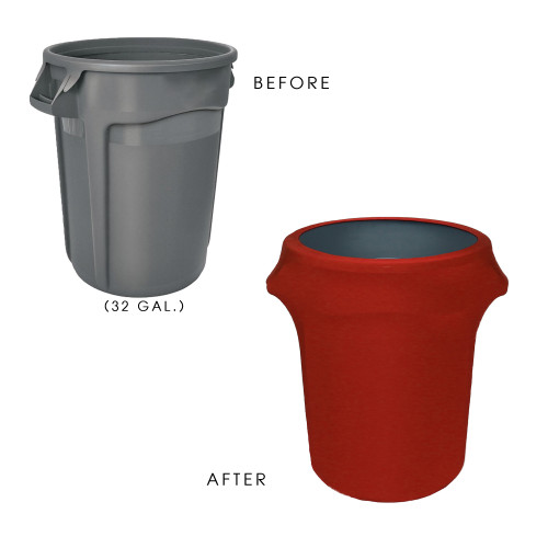 32 Gallon Spandex Trash Can/Waste Container Cover Red before and after
