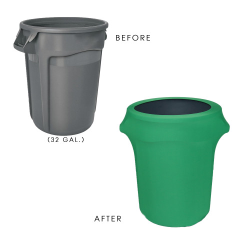 32 Gallon Spandex Trash Can/Waste Container Cover Emerald  Green before and after