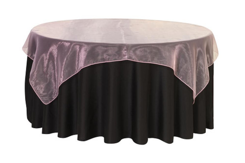 72 inch Square Organza Table Overlays Pink