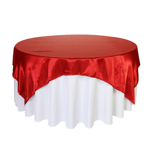 72 inch Square Satin Table Overlays Red