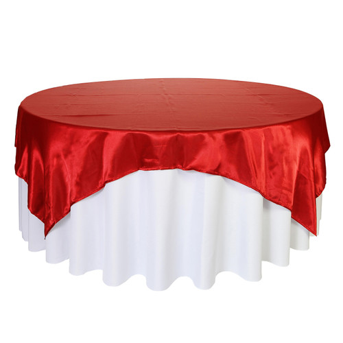 90 Inch Square Satin Table Overlay Red