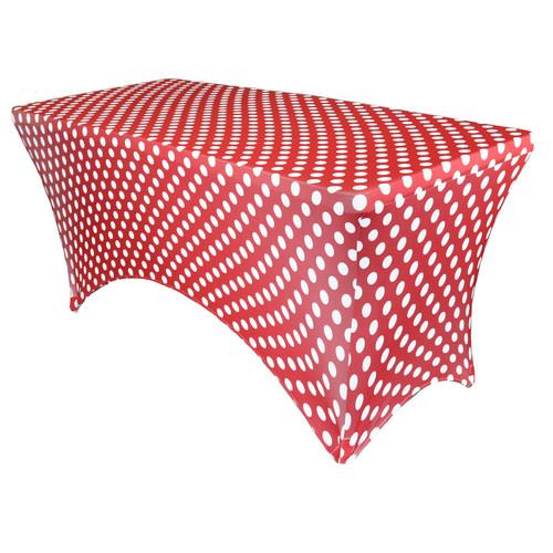 Stretch Spandex 6 Ft Rectangular Table Cover Polka Dot Red/White
