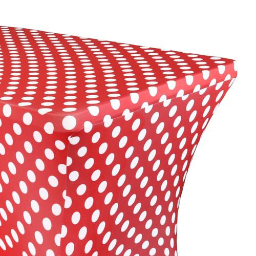 Stretch Spandex 6 Ft Rectangular Table Cover Polka Dot Red/White zoom