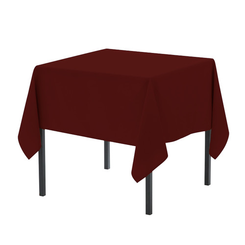 90 x 90 Inch Square Polyester Tablecloth Burgundy