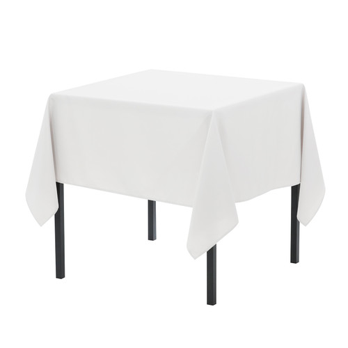 90 x 90 Inch Square Polyester Tablecloth White