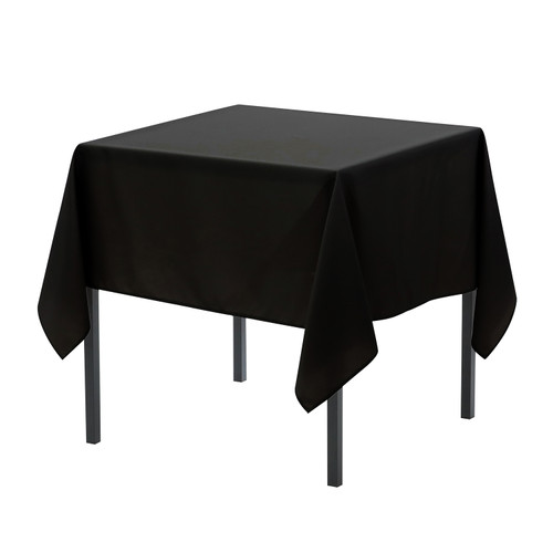 90 x 90 Inch Square Polyester Tablecloth Black
