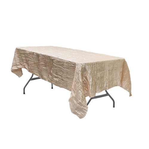 60 x 102 Inch Rectangular Crinkle Taffeta Tablecloth Champagne