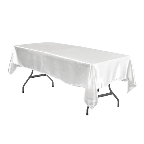 60 x 102 Inch Rectangular Satin Tablecloth White