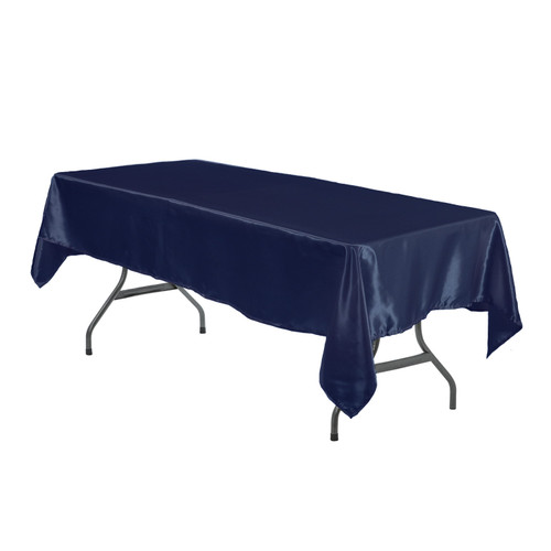 60 x 102 Inch Rectangular Satin Tablecloth Navy Blue