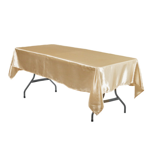 60 x 102 Inch Rectangular Satin Tablecloth Champagne