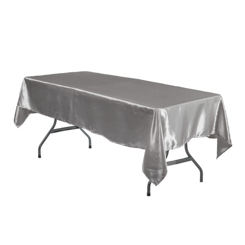 60 x 102 Inch Rectangular Satin Tablecloth Dark Silver