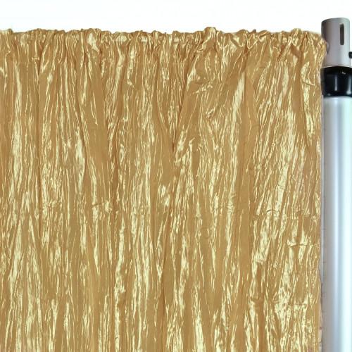 Crinkle Taffeta Drape/Backdrop 10 ft x 97 inches Gold