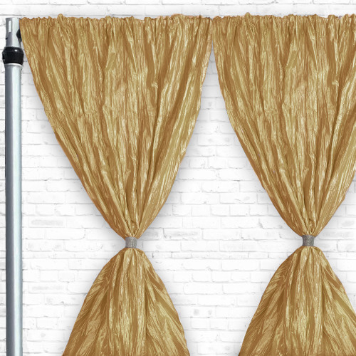 Crinkle Taffeta Drape/Backdrop 10 ft x 97 inches Gold