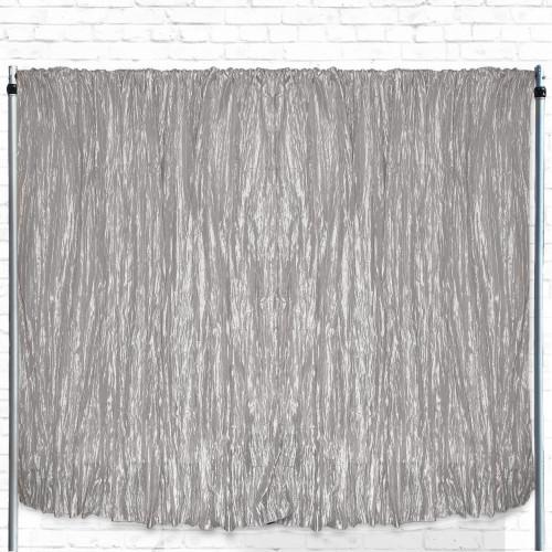 Crinkle Taffeta Drape/Backdrop 12 ft x 97 inches Dark Silver