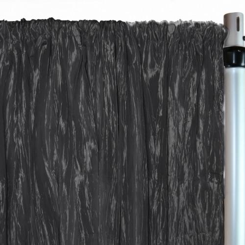 Crinkle Taffeta Drape/Backdrop 12 ft x 97 inches Black
