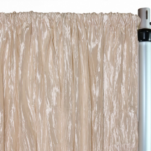Crinkle Taffeta Drape/Backdrop 12 ft x 97 inches Champagne