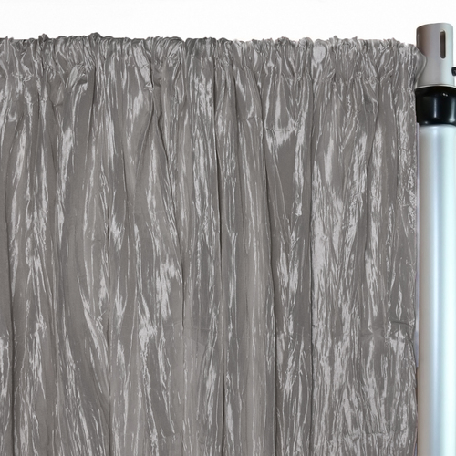 Crinkle Taffeta Drape/Backdrop 14 ft x 97 inches Dark Silver