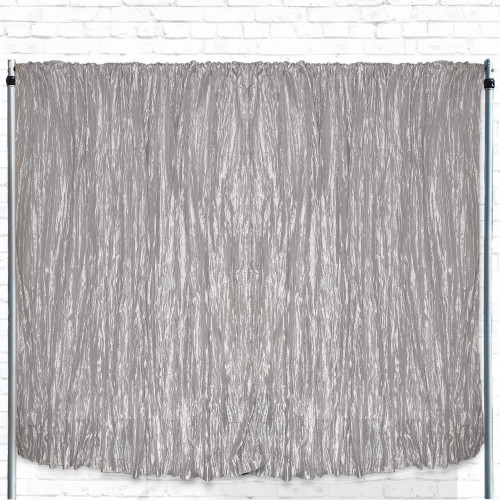 Crinkle Taffeta Drape/Backdrop 14 ft x 97 inches Dark Silver