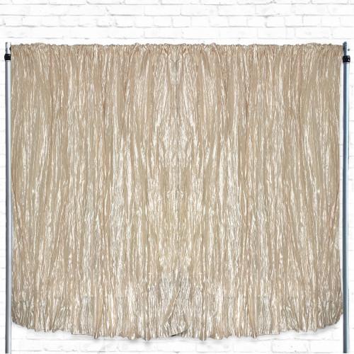 Crinkle Taffeta Drape/Backdrop 14 ft x 97 inches Champagne