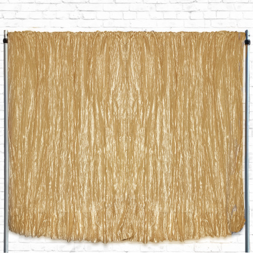 Crinkle Taffeta Drape/Backdrop 14 ft x 97 inches Gold