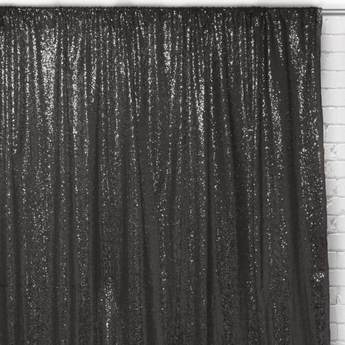 Glitz Sequin on Taffeta Drape/Backdrop 8 ft x 104 Inches Black