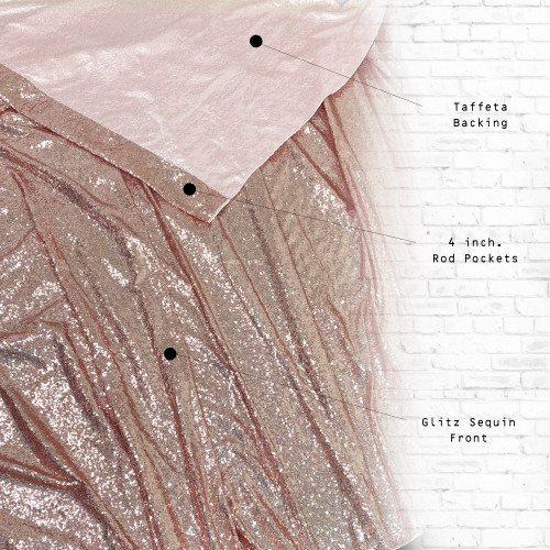 Glitz Sequin on Taffeta Drape/Backdrop 8 ft x 104 Inches Blush front and back
