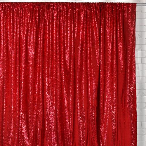 Glitz Sequin on Taffeta Drape/Backdrop 8 ft x 104 Inches Red