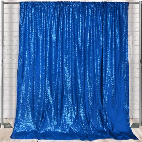 Glitz Sequin on Taffeta Drape/Backdrop 8 ft x 104 Inches Royal Blue