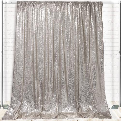 Glitz Sequin on Taffeta Drape/Backdrop 8 ft x 104 Inches Silver
