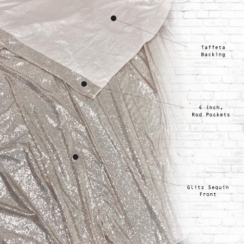 Glitz Sequin on Taffeta Drape/Backdrop 8 ft x 104 Inches Silver front and back