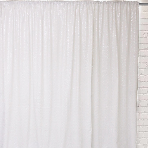 Glitz Sequin on Taffeta Drape/Backdrop 8 ft x 104 Inches White