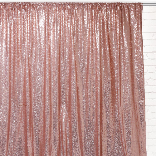 Glitz Sequin on Taffeta Drape/Backdrop 10 ft x 104 Inches Blush