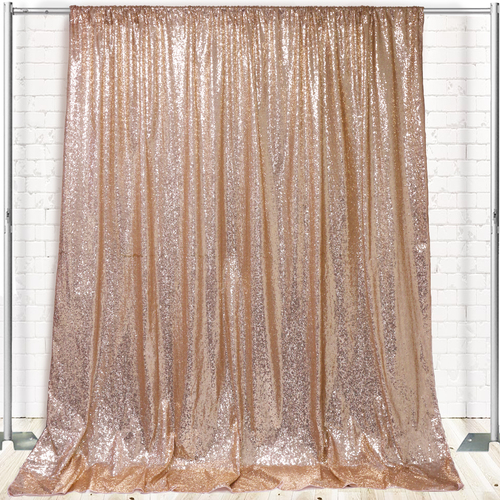 Glitz Sequin on Taffeta Drape/Backdrop 10 ft x 104 Inches Champagne