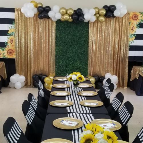 gold drapes and backdrops